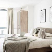 вариант современного стиля белой спальни картинка