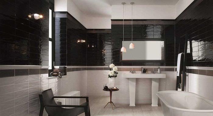 вариант красивого дизайна большой ванной