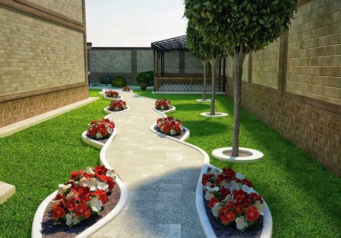 вариант необычного дизайна двора частного дома