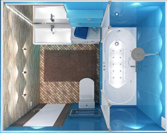 вариант яркого дизайна ванной 3 кв.м