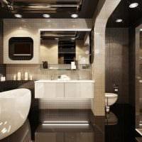 вариант красивого интерьера ванной комнаты 2017 фото