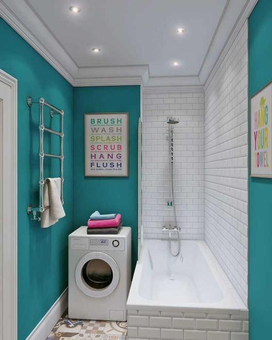 вариант необычного стиля ванной комнаты 2017