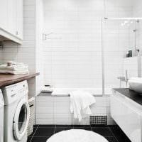 идея современного дизайна ванной комнаты в черно-белых тонах картинка