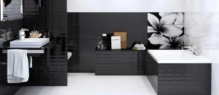 Badezimmer fliesen design schwarz weis