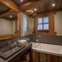 вариант красивого дизайна ванной комнаты в деревянном доме картинка