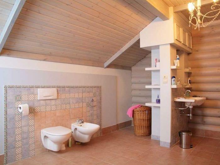 идея современного стиля ванной в деревянном доме