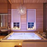 вариант красивого интерьера ванной в деревянном доме фото