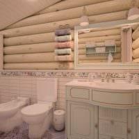 идея современного интерьера ванной в деревянном доме картинка