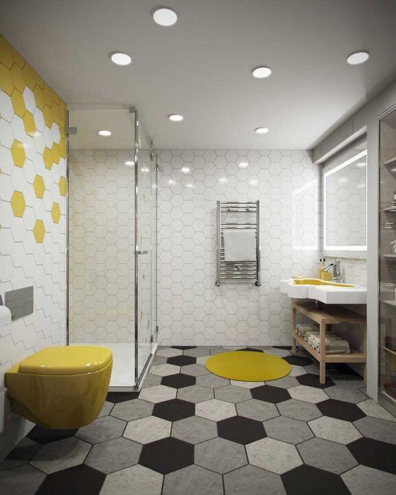 вариант современного дизайна ванной комнаты 6 кв.м