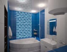 вариант яркого стиля ванной комнаты с угловой ванной картинка