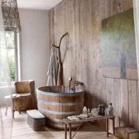 вариант необычного стиля ванной комнаты в деревянном доме фото