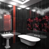 идея необычного дизайна ванной комнаты в черно-белых тонах фото