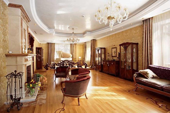 вариант светлого стиля зала в частном доме