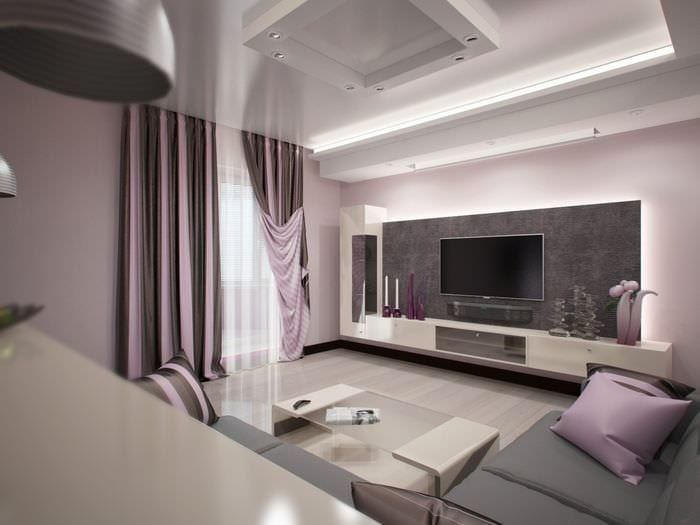 пример необычного интерьера гостиной комнаты 16 кв.м