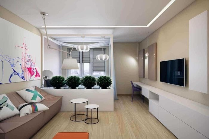 пример красивого интерьера гостиной 25 кв.м