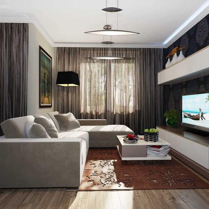 пример яркого стиля гостиной комнаты 19-20 кв.м