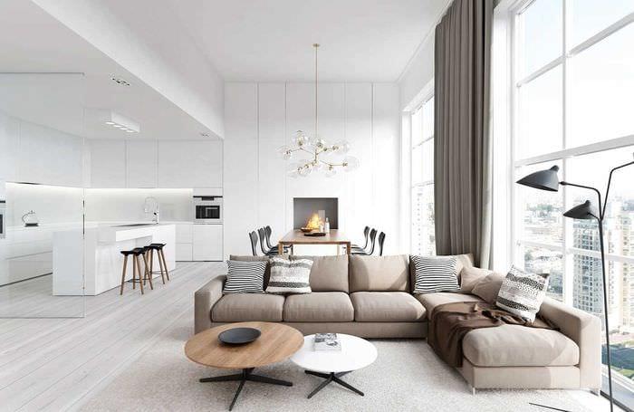 пример яркого декора гостиной в стиле минимализм