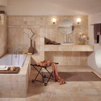 вариант яркого стиля ванной в бежевом цвете картинка