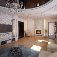 вариант яркого интерьера зала в частном доме фото