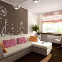 пример яркого дизайна гостиной комнаты 19-20 кв.м картинка