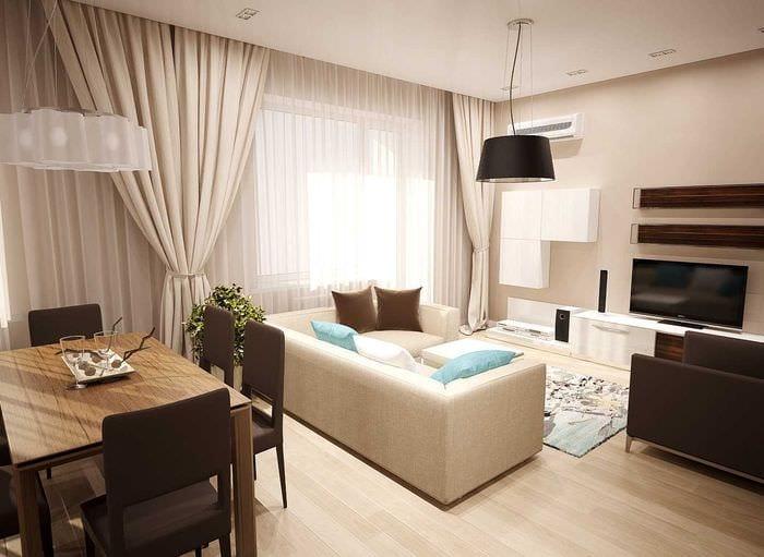 вариант яркого дизайна гостиной комнаты 25 кв.м
