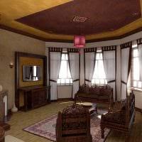вариант необычного интерьера гостиной комнаты с эркером фото