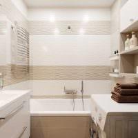 вариант красивого дизайна ванной в бежевом цвете фото