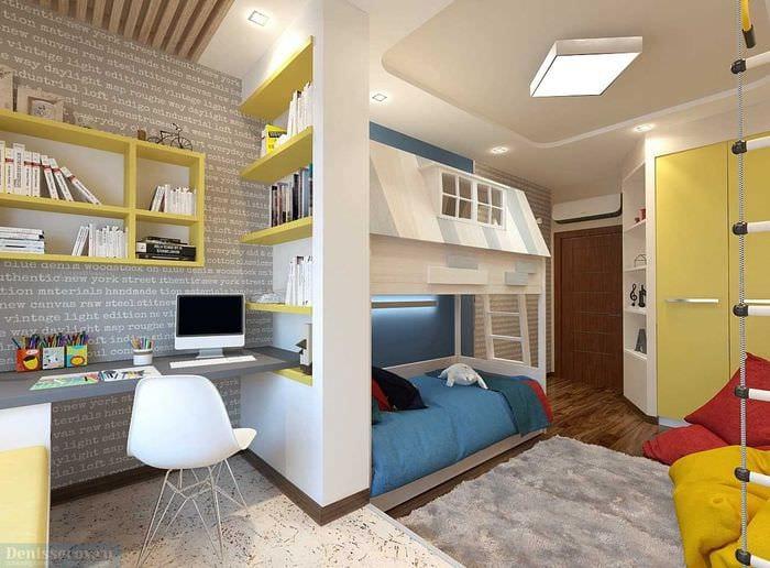 вариант светлого стиля детской комнаты для двух мальчиков