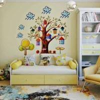 идея светлого дизайна детской комнаты фото