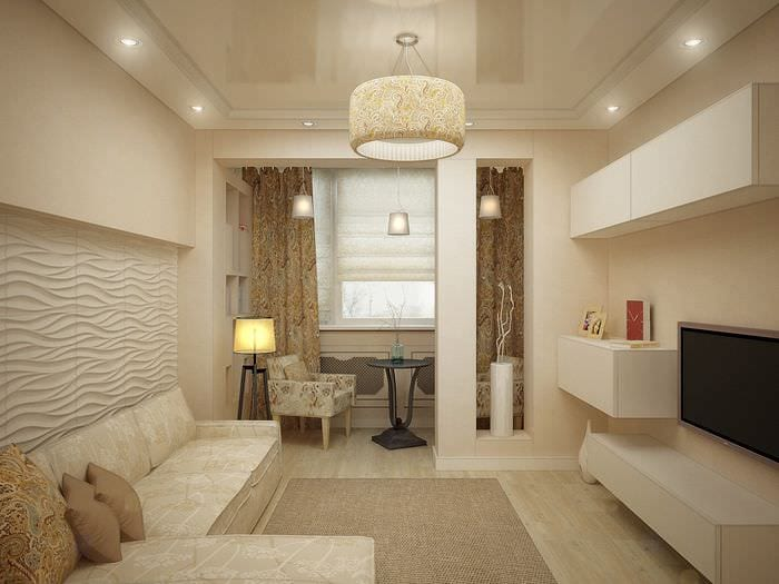 вариант яркого интерьера гостиной комнаты 16 кв.м