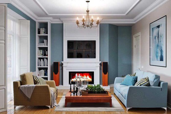 вариант светлого дизайна гостиной комнаты 19-20 кв.м