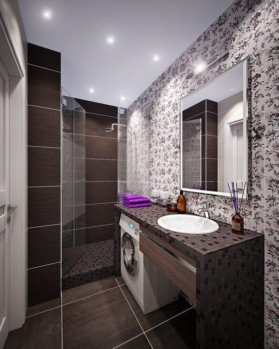 вариант яркого интерьера ванной комнаты 5 кв.м