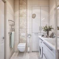 пример необычного интерьера ванной в бежевом цвете фото