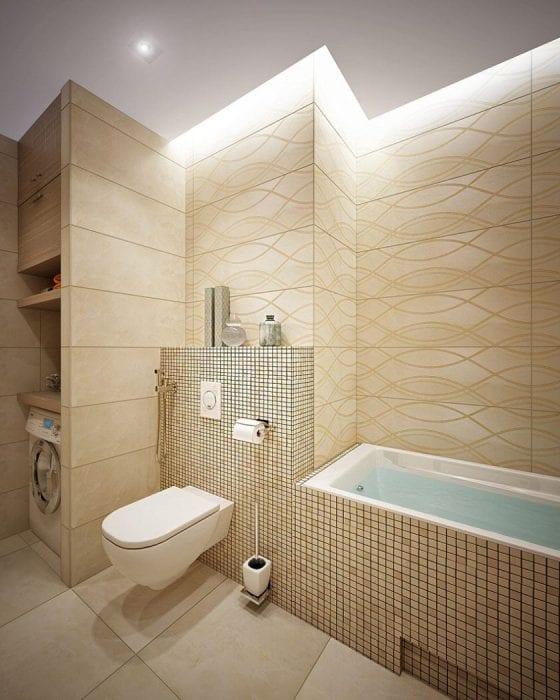 пример светлого дизайна ванной в бежевом цвете