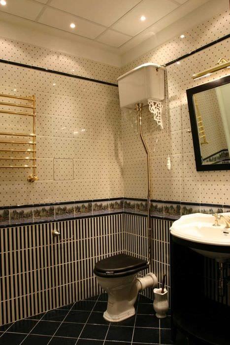 вариант светлого стиля ванной комнаты в классическом стиле