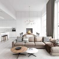 вариант красивого дизайна гостиной комнаты в стиле минимализм фото