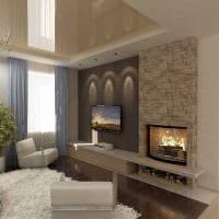 пример красивого дизайна гостиной комнаты с камином картинка