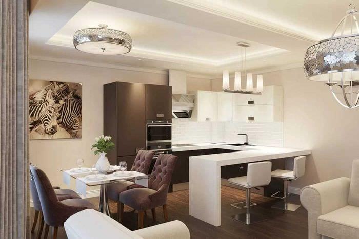 идея красивого стиля квартиры в светлых тонах в современном стиле