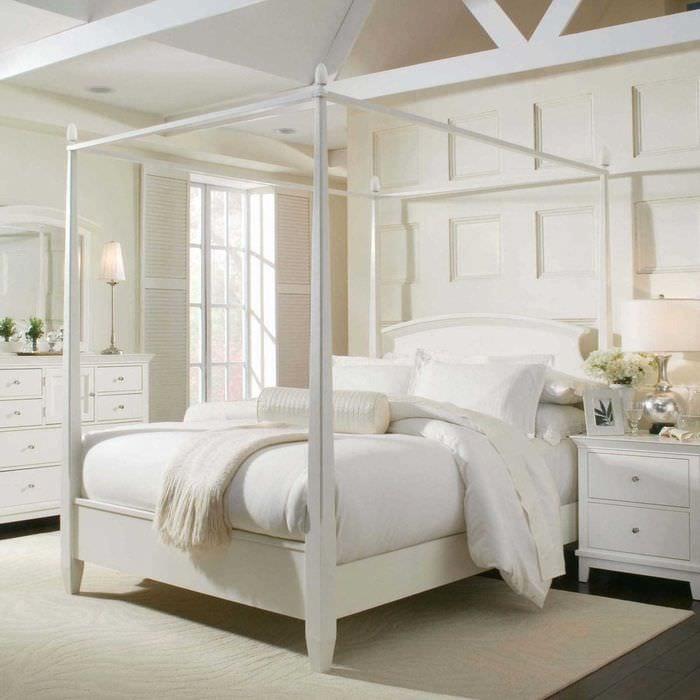 идея красивого стиля белой спальни