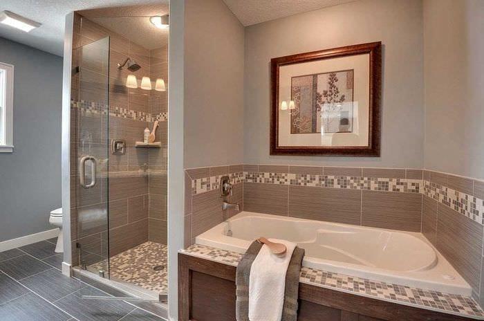 вариант необычного интерьера большой ванной