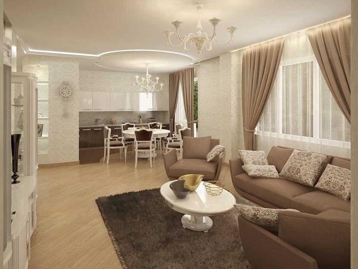 вариант яркого стиля гостиной в частном доме