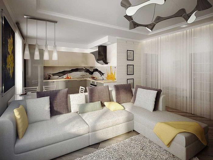 пример красивого дизайна гостиной в стиле минимализм