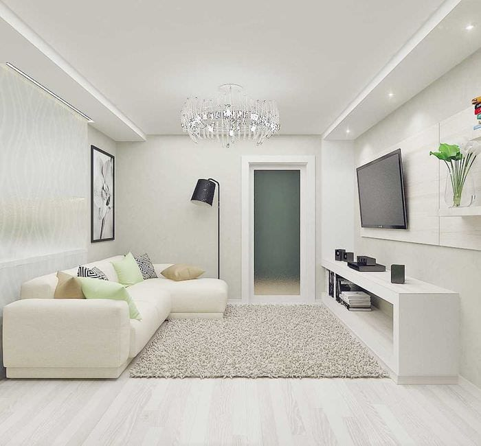 вариант яркого декора комнаты в светлых тонах в современном стиле
