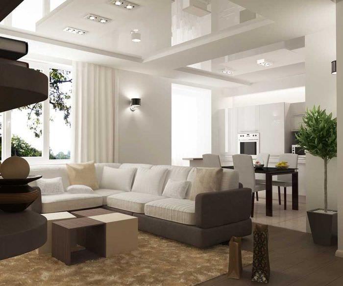 вариант необычного дизайна современной квартиры 65 кв.м