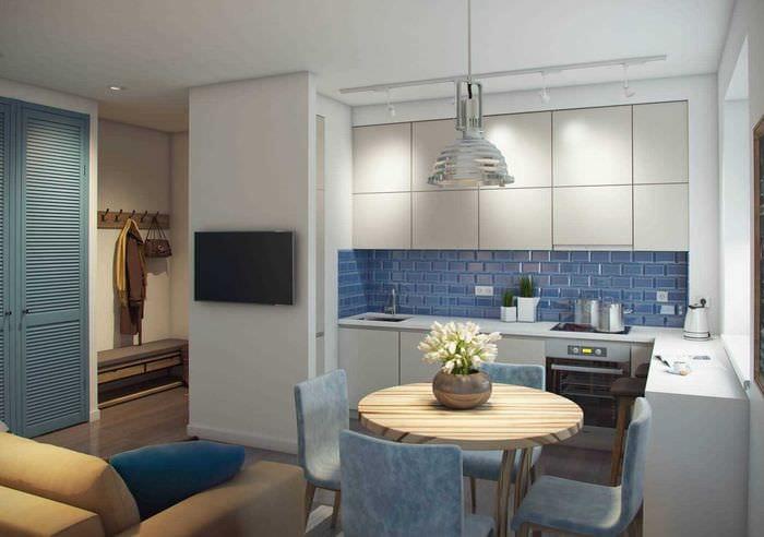 пример необычного дизайна современной квартиры 70 кв.м