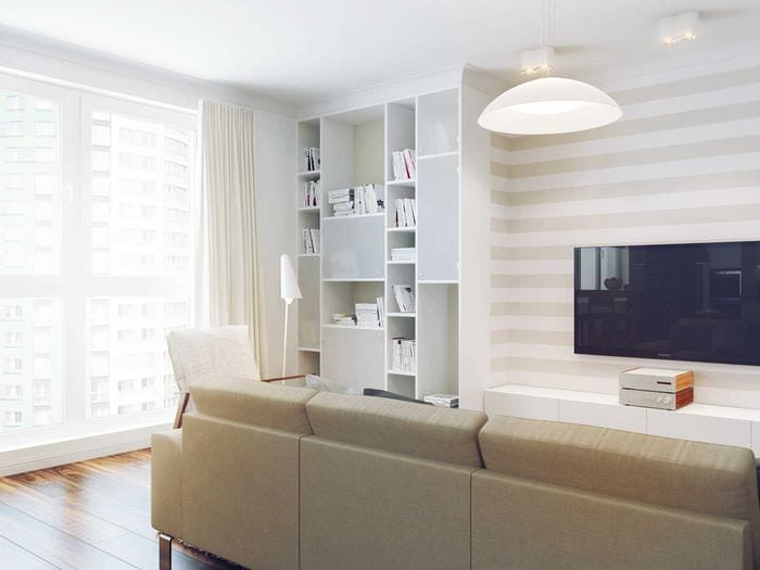 вариант яркого дизайна комнаты в светлых тонах в современном стиле