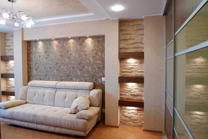 вариант светлого дизайна современной квартиры 50 кв.м