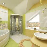 идея яркого интерьера ванной с окном картинка