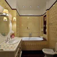 пример яркого дизайна ванной в бежевом цвете фото