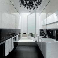 идея современного интерьера ванной комнаты в черно-белых тонах фото